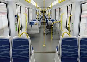 Disposición asientos sala tranvía Estocolmo