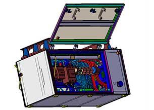 Cofre de baterías en material rodante
